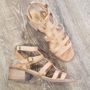 Lucky Brand  leather strappy block heel sandals